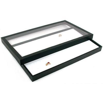 72 Slot White Ring Display & Acrylic Lid Travel Tray