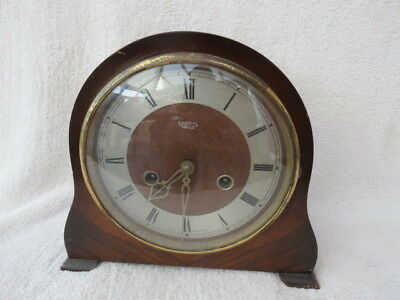 Vintage Smiths Enfield Striking Mantel Clock For Light Tlc