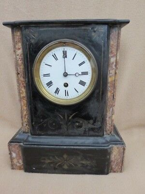Antique French Black Slate And Marble Mantel Clock For Light Tlc