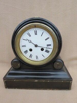 Antique French Japy Ebonised Drumhead Mantel Clock