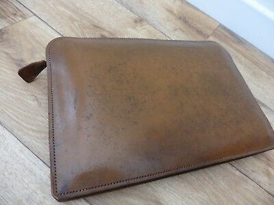 Superb quality, Vintage Antler brown tan leather portable zipped Folio in grt co