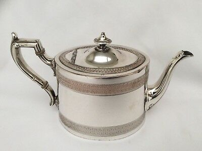 Superb Quality Antique Chased Silver Plated Teapot JAMES DIXON & SONS c1851-1870
