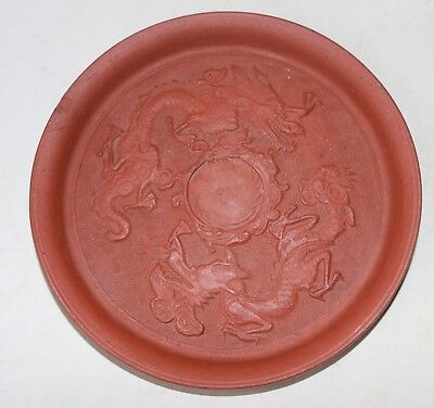 antique chinese yixing 3 dragons plate not signed pottery pattypan pattipan