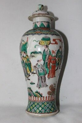 famille verte vase 19th c century porcelain pottery chinese warriors antique
