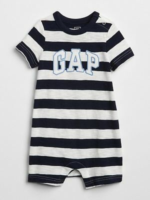 NWT BABY GAP shorts logo romper shorty   one-piece navy stripe  you pick size