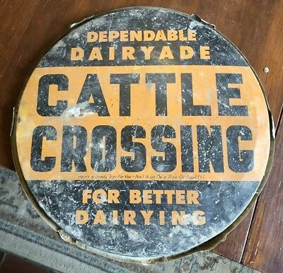 """Vintage Dairyade """"Cattle Crossing"""" Cow Feed Container Top Metal Sign, Vermont"""