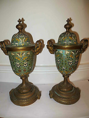 Antique Cloisonne Pair Urns Enamel Painted Gilt Metal Twin Handle 19th C REDUCED