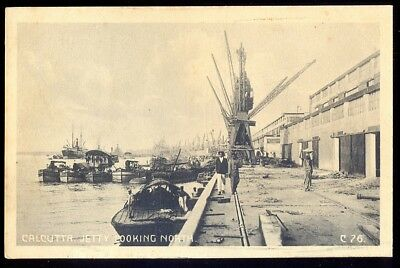 The Jetty (Looking North), Calcutta, India. Pre-1914 Vintage Postcard. Free Post