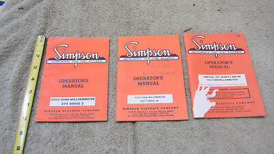 Vintage Lot of 3 Simpson Milliammeter Operator's Manuals