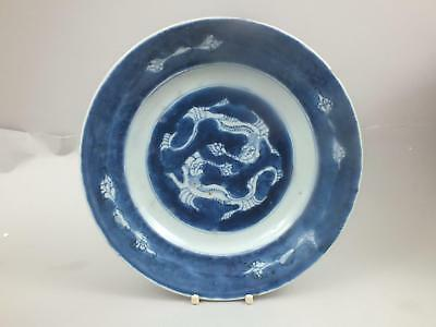 (2) A Kang-Xi Chinese Porcelain Plate With Dragons On A Blue Ground 18Th Century