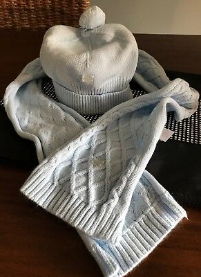 tutto piccolo boys Beautiful Pale Blue Hat And Scarf Set, Perfect, 4-5 Years.