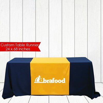 "Trade show table runner custom logo, table runner for event & craft fair 24""x72"""
