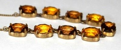 Beautiful Vintage / Antique Citrine & Topaz Paste Riviere Necklace. Open Backed.