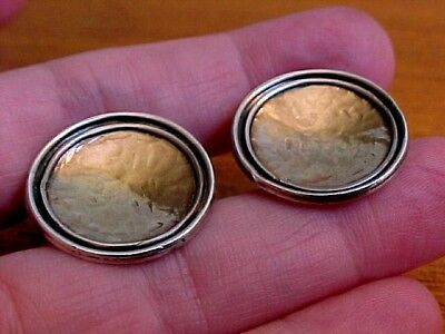 Double-Rim Earrings,  Sterling Silver With Gold Centers, Vintage American Studio