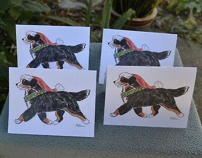 Bernese Mountain Dog. Christmas ! Post cards made from my original watercolor.