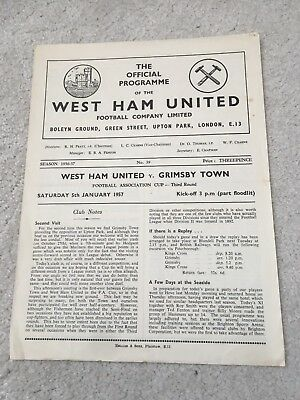 West Ham v Grimsby  1956-57 FA Cup 2rd rd, old football programme