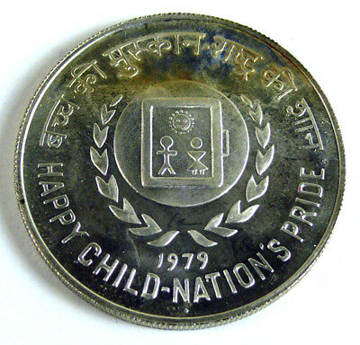 Indien 50 Rupees  1979 Happy Child, Silber stgl.