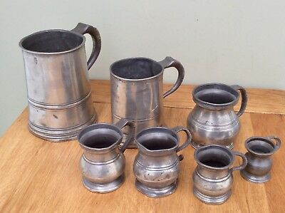 Antique 19th Century Pewter QUART, PINT, 1/2 PINT, GILL, 1/2 GILL, 1/4 GILL