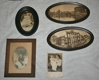 Mixed Lot Of 4 Vintage & Antique Small Photo Frames - Oval Metal & Wood Frames