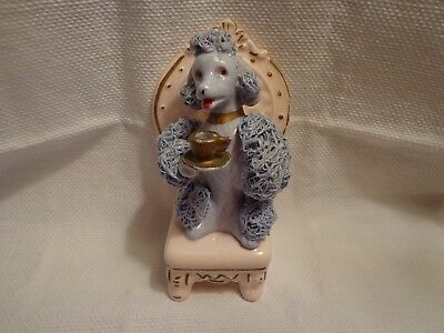 Vintage Porcelain Blue Spaghetti Poodle Dog on Pink Chair Holding a Cup Japan
