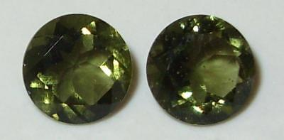 2.09ct Pair Faceted TOP QUALITY Natural Czechoslovakia Moldavite Round Cut 7mm