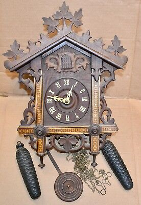 Really Nice Antique Chalet Inlaid Black Forest Cuckoo Clock Bone Hands