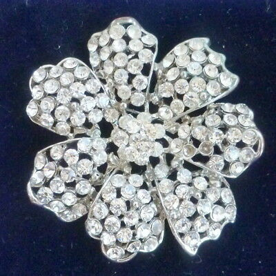 Pretty Vintage Flower Head Brooch Set With Clear Stones