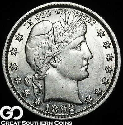 1892 Barber Quarter, Nice White Choice AU++/Unc First Year Issue