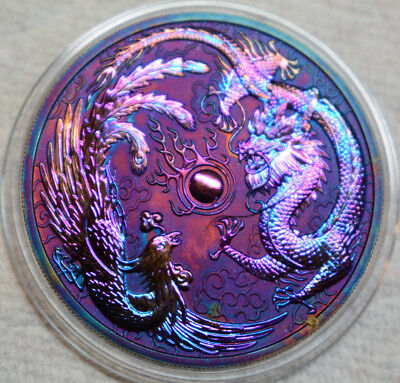 2017 1 oz Australia $1 Dragon and Phoenix Rainbow Toned coin in Capsule