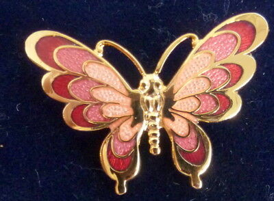 Pretty Gold Tone And Enamel Butterfly Brooch