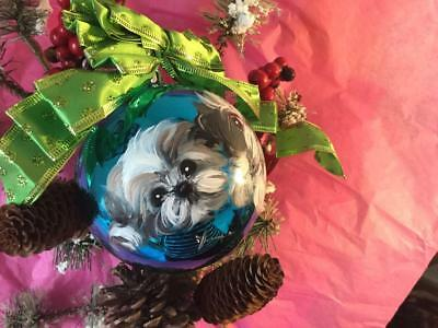 3 Shih Tzu  Puppies  Hand Painted Christmas Ornament