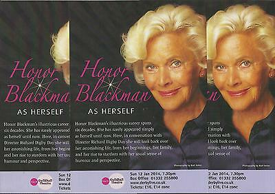 Honor Blackman As Herself  - 2014 Derby Guildhall Theatre FLYERS x 3