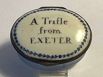 """18th C. English Battersea Bilston Enamel Patch Box """"a Trifle from EXETER """""""