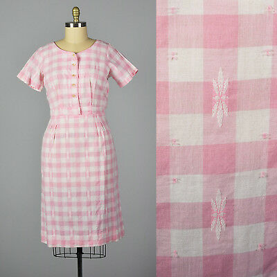 XL 1950s Pink Gingham Pencil Dress Short Sleeves Day Wear Casual Spring 50s VTG