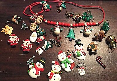 VINTAGE Christmas Jewelry mixed lot of 33 clip, wire stem earrings pendant charm