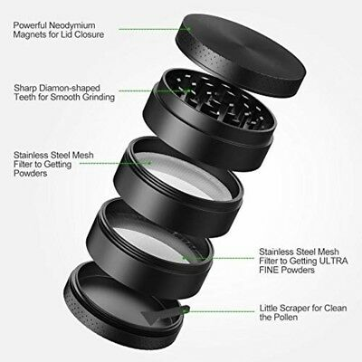 "Spice Tobacco Herb Weed Grinder-5 Pcs with Pollen Catcher-2.5"" Black iRainy ©"