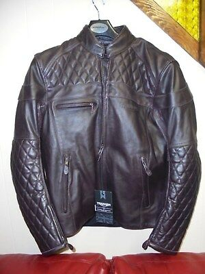 Men Triumph Andorra Quilted Leather Motorcycle Jacket L Large Burgundy MLHS17109