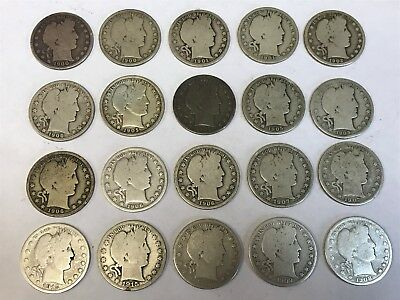 Barber Half Dollar Lot 20 Coin Roll 1900-1915 10 Different Dates 90% Silver *L9