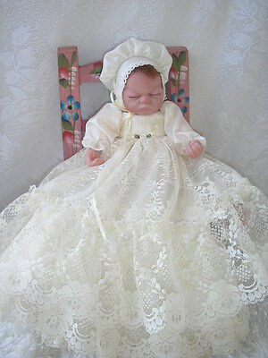 Creme Lace Christening Gown for 10 Inch Miracle Emmy