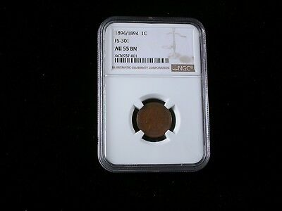 1894 /1894    Indian Head Cent   FS-301  NGC graded AU55 BN     Rare!