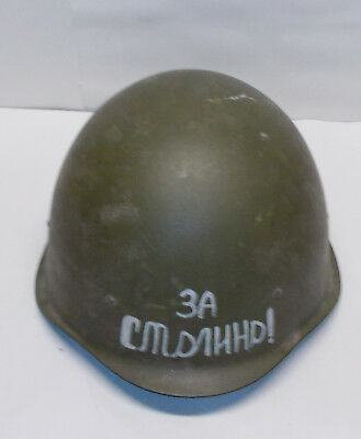 Russian WWII Helmet SSh40 with Chin Strap Writing on Front also Markings inside