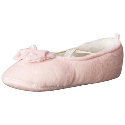 Carters Danza Pink Faux Fur Infant Girl Bow Slippers Shoes L 9/10 BHFO 5123