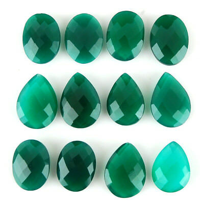 12 Pcs Natural Onyx Untreated Finest Green Checkerboard Cut Gems 20mm-22mm