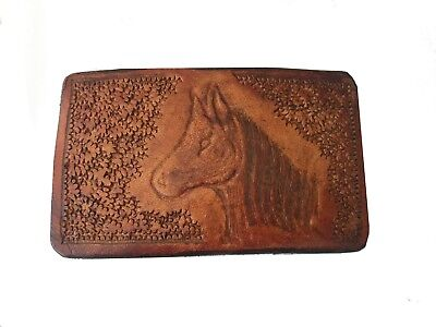 Vtg Horse Head Belt Buckle Leather Inlay Equestrian Tooled Wild Mustang Quarter