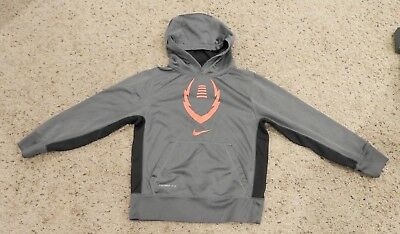 Boys Nike Therma Fit Grey/orange/black Logo Hoodie Sweatshirt Size Youth Small