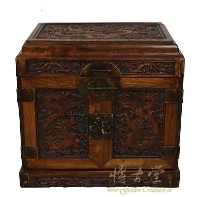 Antique Chinese Carved Rosewood Jewelry Box
