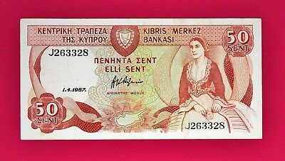 50 Cent 1987 Cyprus Banknote