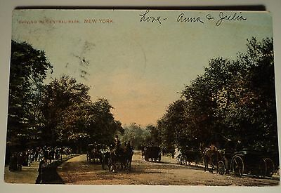 * Driving in Central Park New York NY vintage postcard 1907 new york carriage