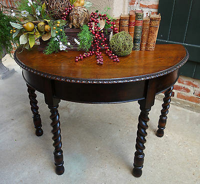 Antique English DEMILUNE TABLE Carved Tiger Oak BARLEY TWIST Foyer Console  .a.