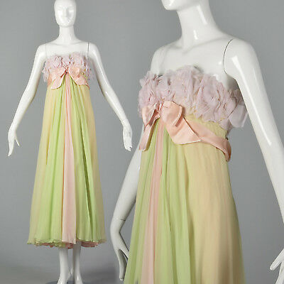 M 1960s Pastel Chiffon Evening Gown Strapless Dress Green Pink Spring Party 60s
